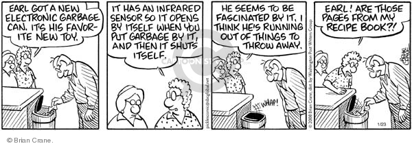 Comic Strip Brian Crane  Pickles 2008-01-23 garbage can