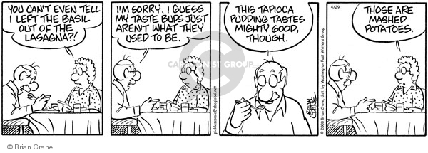 Comic Strip Brian Crane  Pickles 2008-04-29 lasagna