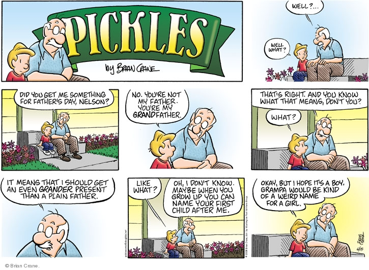 Comic Strip Brian Crane  Pickles 2008-06-15 baby boy