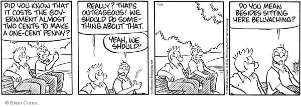 Comic Strip Brian Crane  Pickles 2008-07-21 bellyache