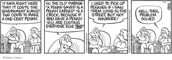 Comic Strip Brian Crane  Pickles 2008-07-22 coin