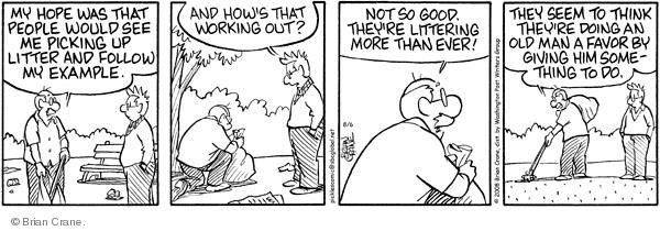 Comic Strip Brian Crane  Pickles 2008-08-06 environment