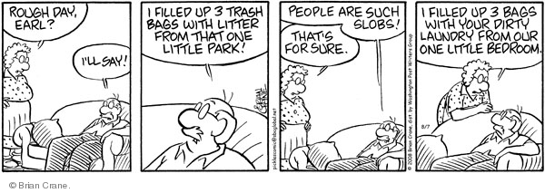 Comic Strip Brian Crane  Pickles 2008-08-07 dirty laundry