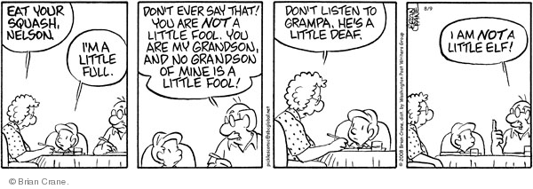 Comic Strip Brian Crane  Pickles 2008-08-09 hearing loss