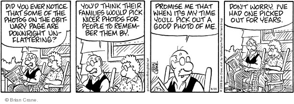 Comic Strip Brian Crane  Pickles 2008-08-20 good memory