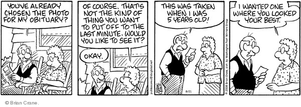 Comic Strip Brian Crane  Pickles 2008-08-21 newspaper obituary