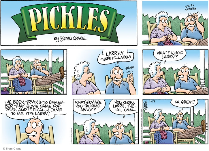 Comic Strip Brian Crane  Pickles 2008-08-24 snap