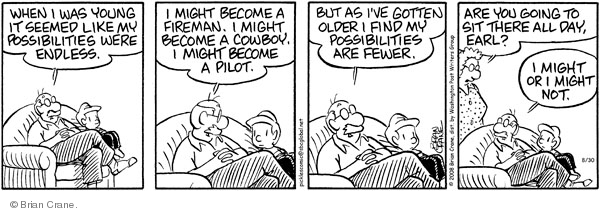 Comic Strip Brian Crane  Pickles 2008-08-30 possibility