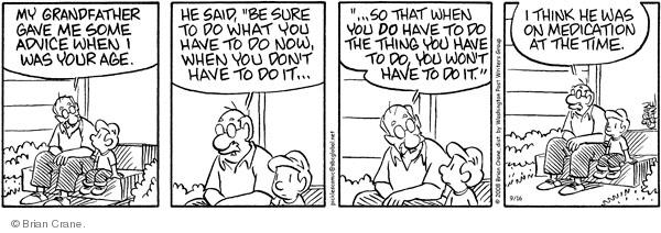 Comic Strip Brian Crane  Pickles 2008-09-16 advice