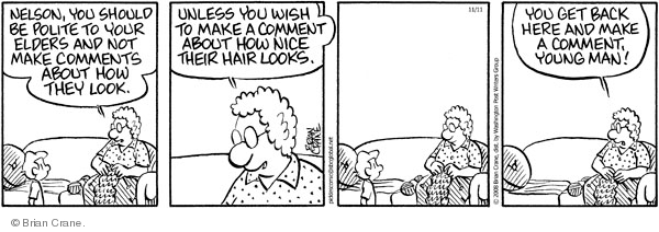 Comic Strip Brian Crane  Pickles 2008-11-11 young man