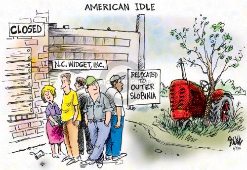 Cartoonist Dwane Powell  Dwane Powell's Editorial Cartoons 2004-06-02 unemployment