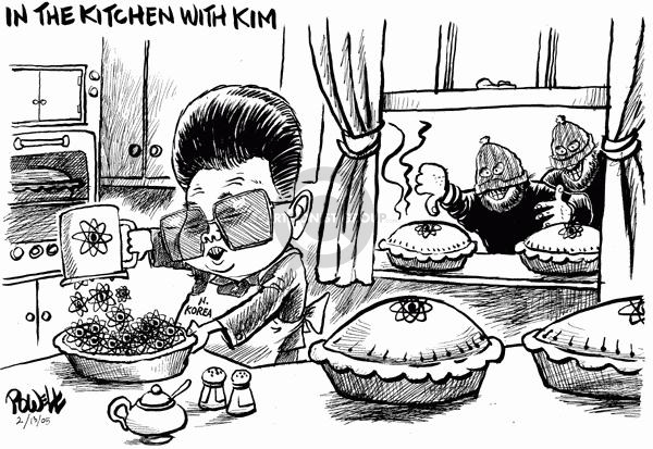 In the kitchen with Kim.  (North Korean leader makes nuclear pies while thieves take pies cooling on window sill.)