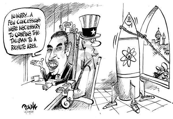Cartoonist Dwane Powell  Dwane Powell's Editorial Cartoons 2009-04-24 weapon