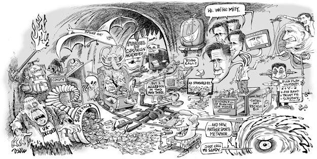 Cartoonist Dwane Powell  Dwane Powell's Editorial Cartoons 2012-10-31 bush