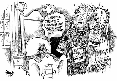 Cartoonist Dwane Powell  Dwane Powell's Editorial Cartoons 2005-12-20 Bush Cheney