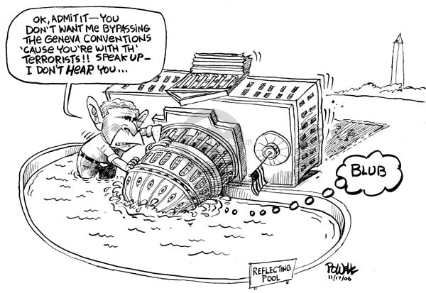 Cartoonist Dwane Powell  Dwane Powell's Editorial Cartoons 2006-09-18 George W. Bush