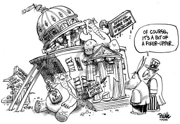 Cartoonist Dwane Powell  Dwane Powell's Editorial Cartoons 2006-11-09 political corruption