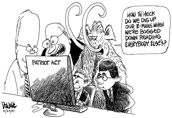 Cartoonist Dwane Powell  Dwane Powell's Editorial Cartoons 2007-04-30 George W. Bush Alberto Gonzales