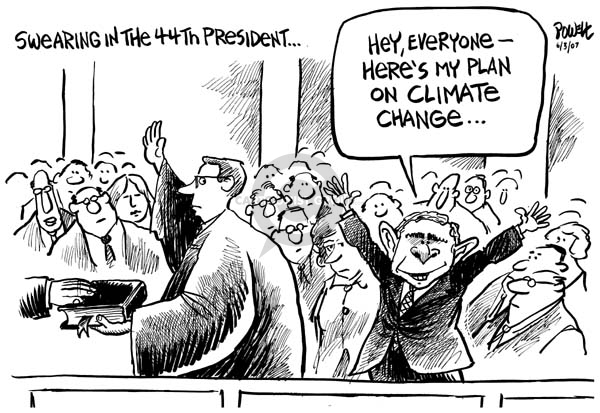 Swearing in the 44th President.  Hey, everyone -- Heres my plan on climate change.