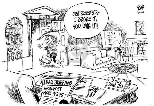Cartoonist Dwane Powell  Dwane Powell's Editorial Cartoons 2007-09-18 Bush leadership
