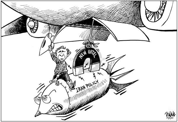 """No caption.  (In a scene similar to an iconic image from the movie """"Dr. Strangelove,"""" President Bush rides an """"Iran Policy"""" missile that is attached to a """"New Intel"""" magnet lowered from the bomb bay of a bomber.  Vice President Dick Cheneys face is on the front of the """"Iran Policy"""" missile.)"""