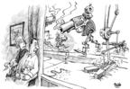 Cartoonist Dwane Powell  Dwane Powell's Editorial Cartoons 2009-04-10 gun