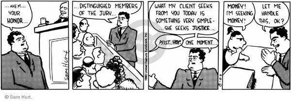 Comic Strip Sam Hurt  Queen of the Universe 1990-08-24 litigation