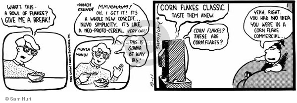 Comic Strip Sam Hurt  Queen of the Universe 1990-10-11 food