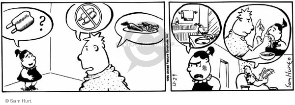 Comic Strip Sam Hurt  Queen of the Universe 1990-12-29 food