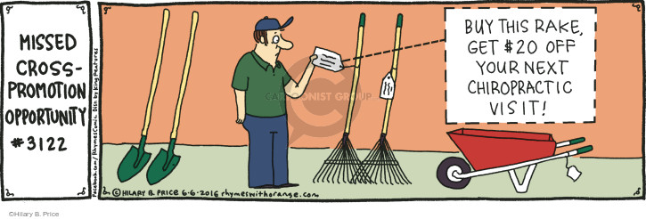 Missed Cross-Promotion Opportunity #3122. Buy this rake, get $20 off your next chiropractic visit!