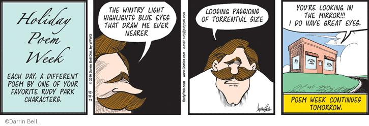 Comic Strip Darrin Bell  Rudy Park 2013-12-17 narcissist