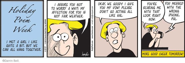 Comic Strip Darrin Bell  Rudy Park 2013-12-18 affection