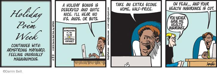 Comic Strip Darrin Bell  Rudy Park 2013-12-20 employment benefits