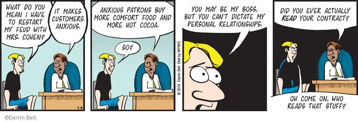 Comic Strip Darrin Bell  Rudy Park 2014-01-09 feud