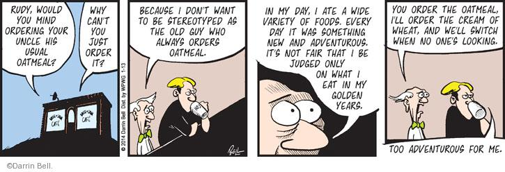 Comic Strip Darrin Bell  Rudy Park 2014-01-13 dining out