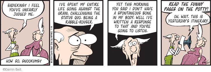 Comic Strip Darrin Bell  Rudy Park 2014-01-14 status