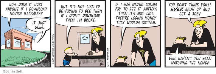 Comic Strip Darrin Bell  Rudy Park 2014-01-28 lose
