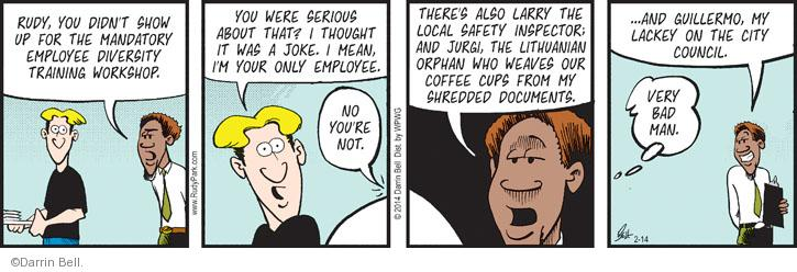 Comic Strip Darrin Bell  Rudy Park 2014-02-14 coffee cup