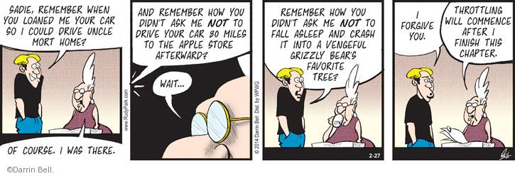 Comic Strip Darrin Bell  Rudy Park 2014-02-27 mile