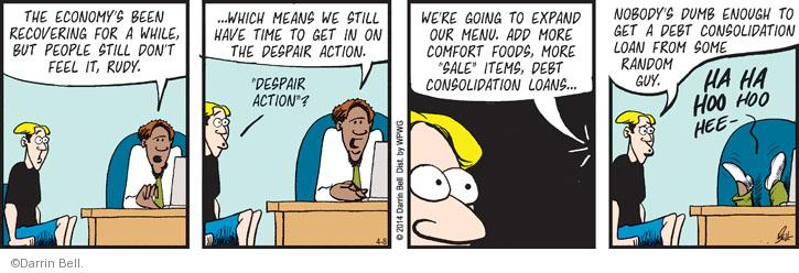 Cartoonist Darrin Bell  Rudy Park 2014-04-08 comfort