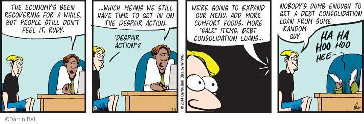 Comic Strip Darrin Bell  Rudy Park 2014-04-08 debt