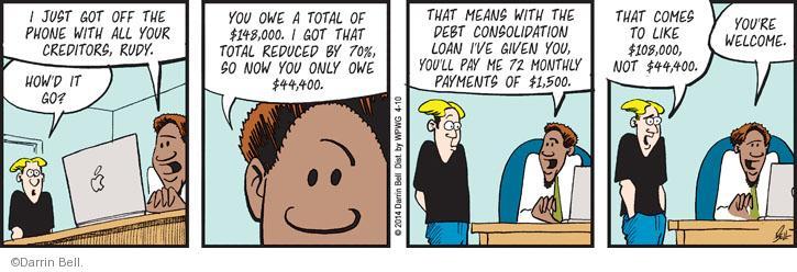 Comic Strip Darrin Bell  Rudy Park 2014-04-10 debt