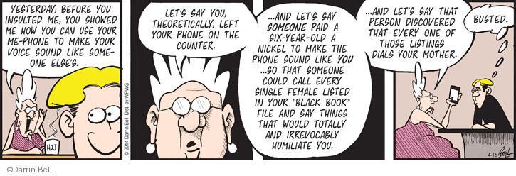Comic Strip Darrin Bell  Rudy Park 2014-04-15 prank call