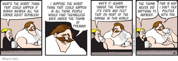 Comic Strip Darrin Bell  Rudy Park 2014-05-01 foreign