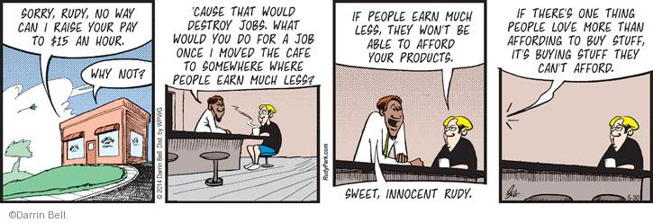 Comic Strip Darrin Bell  Rudy Park 2014-05-30 earn