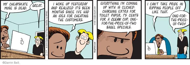 Comic Strip Darrin Bell  Rudy Park 2014-06-17 cheapskate
