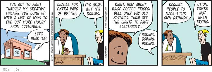 Comic Strip Darrin Bell  Rudy Park 2014-06-19 sell out