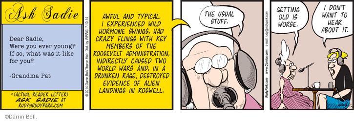Cartoonist Darrin Bell  Rudy Park 2014-07-10 evidence