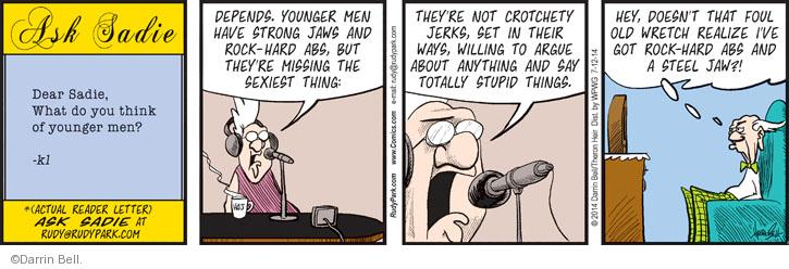Comic Strip Darrin Bell  Rudy Park 2014-07-12 younger