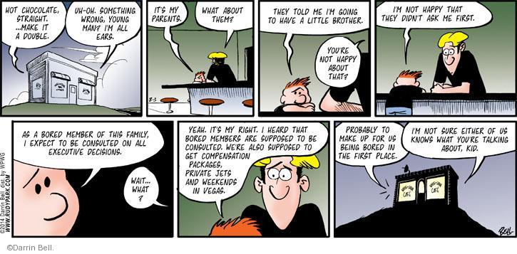 Comic Strip Darrin Bell  Rudy Park 2014-08-03 decision